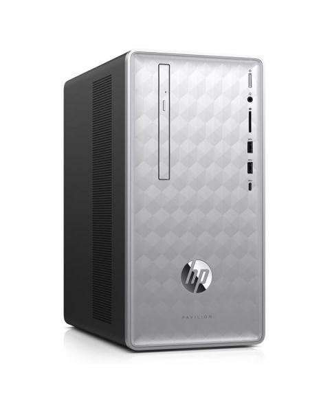 HP Pavilion 590-p0038na Desktop, Silber, AMD Ryzen 5 2400G, 8GB RAM, 2TB SATA, DVD-RW, HP 1 Jahr Garantie, Englisch Tastatur